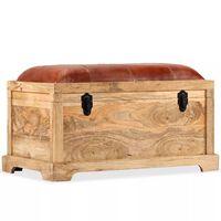 vidaXL Úložná lavica, pravá koža a masívne mangovníkové drevo, 80x44x44 cm