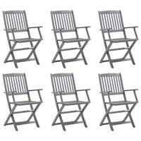 vidaXL Skladacie vonkajšie stoličky 6 ks akáciový masív