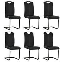 vidaXL Jedálenské stoličky, perová kostra 6 ks, čierne, umelá koža