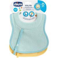 Chicco podbradník so šnúrkou na cumlík, 2ks, modrý/žltý,  0m+
