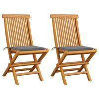vidaXL Záhradné stoličky, sivé podložky 2 ks, tíkový masív
