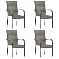 vidaXL Stohovateľné vonkajšie stoličky 4 ks sivé polyratanové