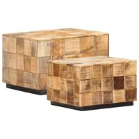 vidaXL Konferenčné stolíky 2 ks blokový dizajn surové mangovníkové drevo