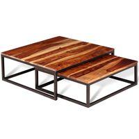 vidaXL 2-dielna sada stohovacích konferenčných stolíkov, sheeshamové drevo
