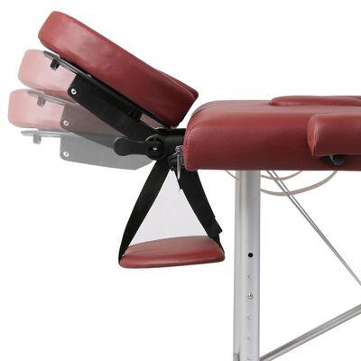 Červený skladací masážny stôl, 2 zóny, hliníkový rám