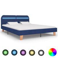 vidaXL Rám postele s LED svetlom modrý látkový 180x200 cm