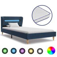 vidaXL Posteľ+LED a matrac, pamäťová pena, modrá, látka 90x200 cm