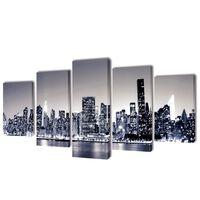 Sada obrazov na stenu, motív čiernobiela panoráma New Yorku 200x100 cm