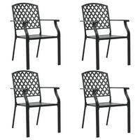 vidaXL Vonkajšie stoličky 4 ks, sieťovinový dizajn, oceľ, čierne
