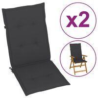 vidaXL Podložky na záhradné stoličky 2 ks, antracitové 120x50x4 cm