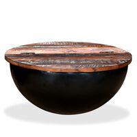 vidaXL Konferenčný stolík, recyklovaný masív, čierny, tvar misky