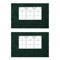 vidaXL Bočné steny na párty stan 2 ks zelené s okienkom