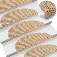 vidaXL Samolepiace nášľapy na schody 15 ks 56x20 cm pieskové