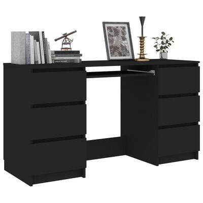 vidaXL Písací stôl, čierny 140x50x77 cm, drevotrieska