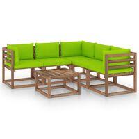 vidaXL 6-dielna záhradná sedacia súprava bledozelené podložky impregnovaná borovica