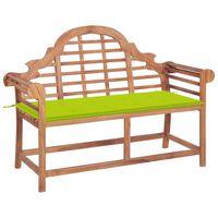 vidaXL Záhradná lavička s jasnozelenou podložkou 120 cm tíkový masív