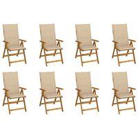 vidaXL Skladacie záhradné stoličky s podložkami 8 ks akáciový masív