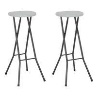 vidaXL Skladacie barové stoličky 2 ks, HDPE a oceľ, biele