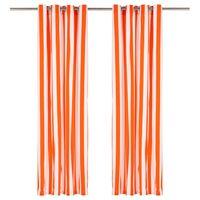 vidaXL Závesy s kovovými očkami 2 ks látka 140x225cm oranžové prúžky