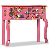 vidaXL Konzolový stolík, pevné mangovníkové drevo, ružový, ručne maľovaný