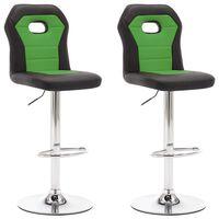 vidaXL Barové stoličky 2 ks, zelené, umelá koža