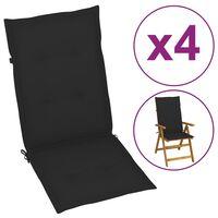 vidaXL Podložky na záhradné stoličky 4 ks, čierne 120x50x4 cm