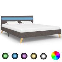 vidaXL Rám postele s LED svetlom svetlosivý 140x200 cm látkový
