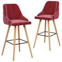 vidaXL Barové stoličky 2 ks vínovo-červené zamatové