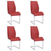 vidaXL Jedálenské stoličky, perová kostra 4 ks, červené, látka