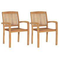 vidaXL Stohovateľné záhradné jedálenské stoličky 2 ks teakový masív