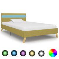 vidaXL Rám postele s LED svetlom zelený 90x200 cm látkový