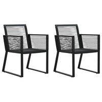 vidaXL Záhradné stoličky 2 ks čierne PVC ratanové