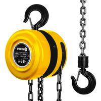 VOREL Oceľový reťazový kladkostroj na 3000 kg, žltý, 80753