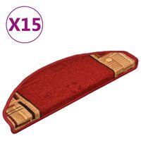 vidaXL Samolepiace nášľapy na schody 15 ks, červené 65x21x4 cm