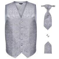 Pánska svadobná vesta s doplnkami, vzor paisley, veľkosť 50, strieborná
