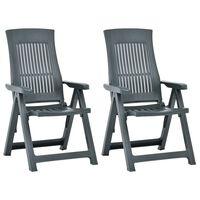 vidaXL Sklápacie záhradné stoličky 2 ks plastové zelené