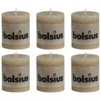 Bolsius Rustikálne valcové sviečky 6 ks 80x68 mm, pastelovo béžové