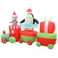 vidaXL Vianočný nafukovací tučniak s myšou vo vlaku LED IP44 350 cm