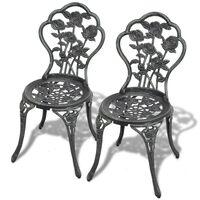 vidaXL Bistro stoličky 2 ks, odlievaný hliník, zelené