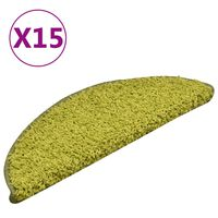 vidaXL Kobercové nášľapy na schody 15 ks zelené 56x17x3 cm