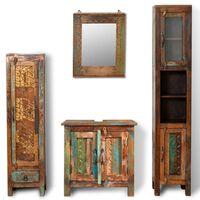 Kúpeľňový nábytok z recyklovaného dreva: 3 skrinky, zrkadlo