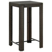 vidaXL Záhradný barový stolík hnedý 60,5x60,5x110,5 cm polyratanový
