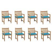 vidaXL Záhradné stoličky 8 ks s modrými podložkami tíkový masív