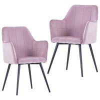vidaXL Jedálenské stoličky 2 ks, ružové, zamat