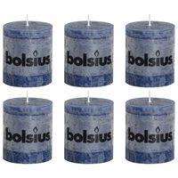 Bolsius Rustikálne valcové sviečky 6 ks 80x68 mm, tmavomodré
