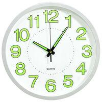 vidaXL Svietiace nástenné hodiny biele 30 cm