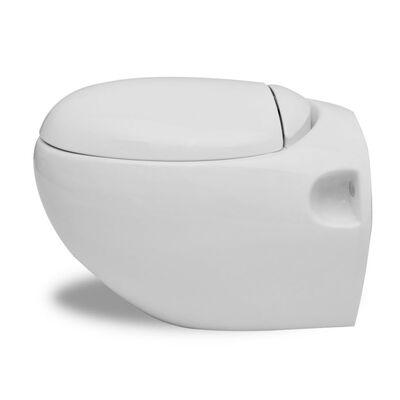Nové biele závesné WC s jedinečným dizajnom v tvare vajíčka