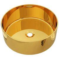 vidaXL Umývadlo 40x15 cm keramické zlaté