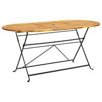 vidaXL Záhradný stôl 160x85x74 cm, akáciový masív, oválny
