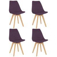 vidaXL Jedálenské stoličky 4 ks, fialové, látka